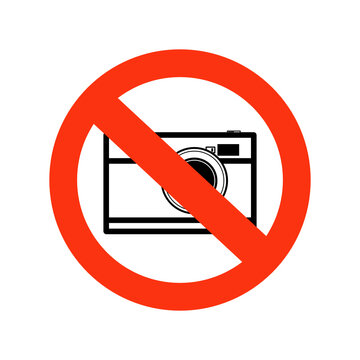 No Photographs Sign isolate on white background.