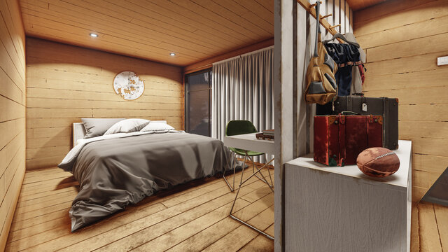 Illuminated Bedroom Design with Wooden Walls Inside an Open Plan House 3D Rendering