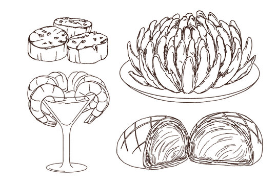 Doodle of Western food, scallop, blooming onion, shrimp cocktail, beef wellington
