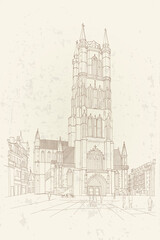 Wall Mural - Vector sketch of the Saint Bavo Cathedral (Sint-Baafs Cathedral) in Ghent, Belgium.
