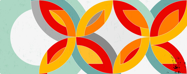 abstract background with circle/semicircle, vintage/retro geometric design
