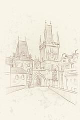 Wall Mural - vector sketch of Lesser Town Bridge Towers on Charles Bridge. Prague, Czech Republic, Bohemia.