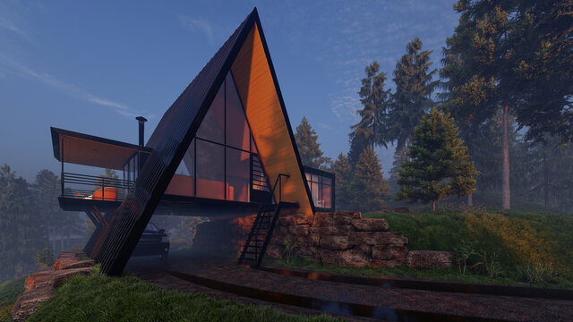 Triangle Shaped House Design with a Garage Underneath in the Early Morning 3D Rendering