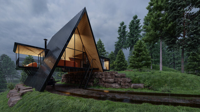 Modern House with an A Frame Design on a Rainy Day 3D Rendering