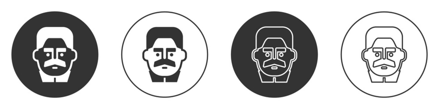 Black Portrait of Joseph Stalin icon isolated on white background. Circle button. Vector.
