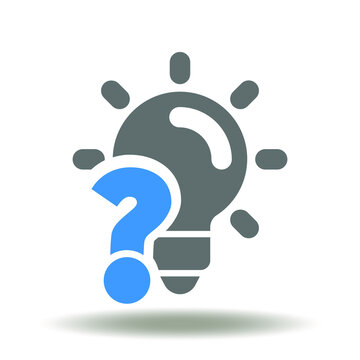 Lamp question icon vector. Idea, Problem Solving Symbol. Confusion Think Success Solution Sign.