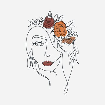 Trendy woman's face in one line art style for fashion prints, posters, cards etc. Continuous art modern design with wreath and flowers.Vector illustration in golden hour colors