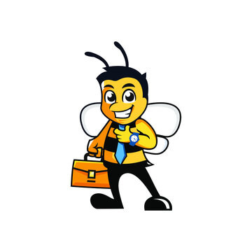 Business cartoon bee with tie on and briefcase character mascot logo Premium Vector