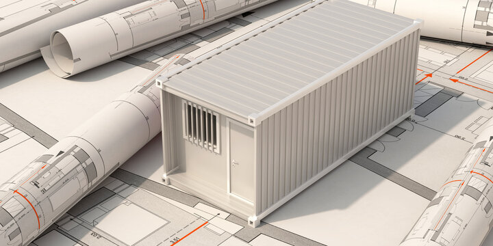Construction site office, cargo container model on building blueprint plans background. 3d illustration..
