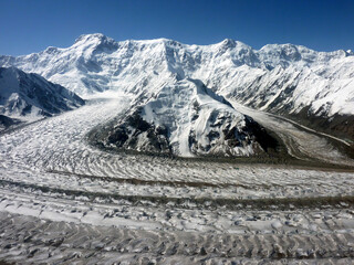 Pobeda Peak - 7439 m viewed from helicopter. Zviozdochka and Diki glaciers flow down into Inylchek south glacier. Tien Shan - Kyrgyzstan