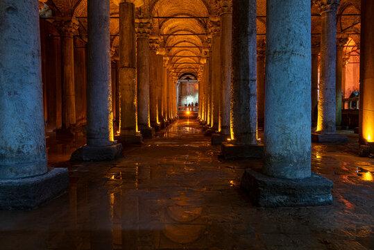 Interior of Basilica Cistern or Cisterna Basilica, Yerebatan Sarayi in Istanbul.