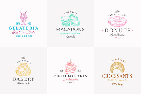 Premium Quality Confectionary Abstract Signs, Symbols or Logo Templates Collection. Hand Drawn Ice Cream, Donut and Cakes with Typography. Local Bakery Vector Emblems Concepts Set.