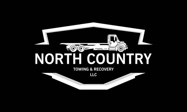 North country, Towing and Recovery Logo, Breakdown cover. Recovery service, Design vector isolated on black background.