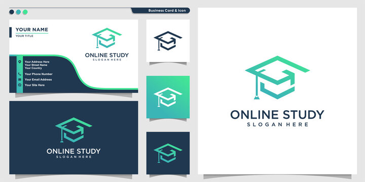 Online study logo with modern outline style and business card design Premium Vector