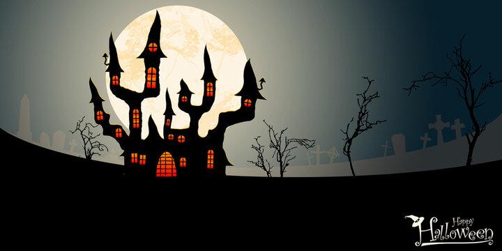 halloween spooky castle in front of full moon