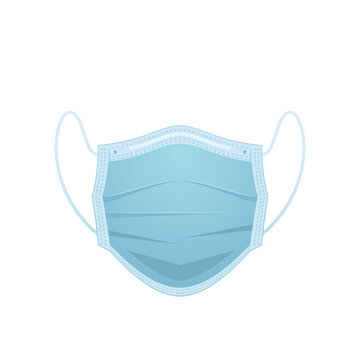 Medical face mask is isolated on a white background. Front side. Blue color. Vector illustration. EPS 10.