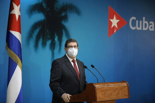 Cuba's Foreign Minister Bruno Rodriguez speaks during a news conference in Havana