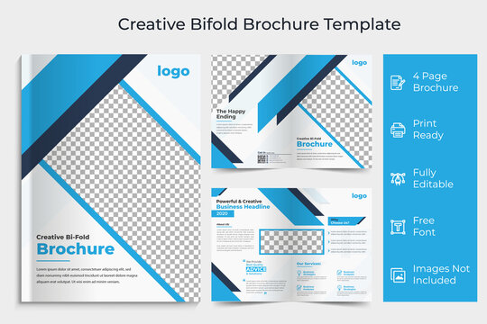 Business bi-fold brochure Template, Corporate & Business Concept Design, Business bi fold brochure design minimal and abstract design, Creative concept bifold brochure with graphic elements,