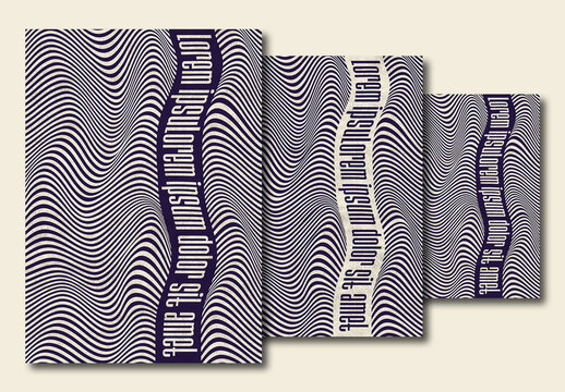 Monochrome Poster Design Layout with Distorted Wavy Line Background