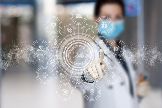 Doctor clicks on the medical service 24 hours a day.