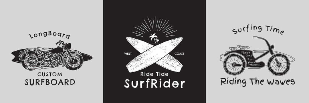 Retro hand drawn motorcycle and surf board graphic vector design. Vintage surfing fashion print design for t-shirt and other uses.
