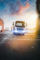 Truck transportation in motion