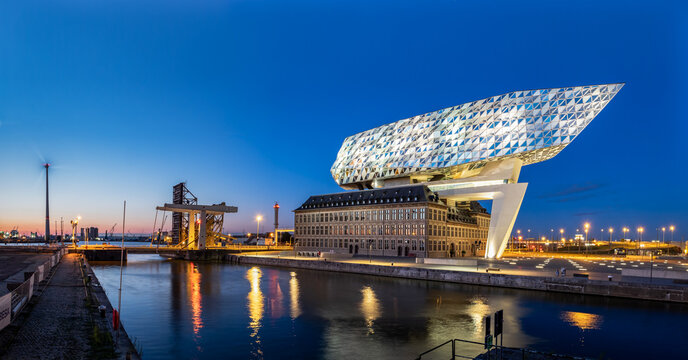 A view on the Antwerp Port House building from Zaha Hadid just after sunset on 13 July 2020.