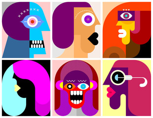 Six Portraits modern art  illustration. Composition of six different abstract images of human face.