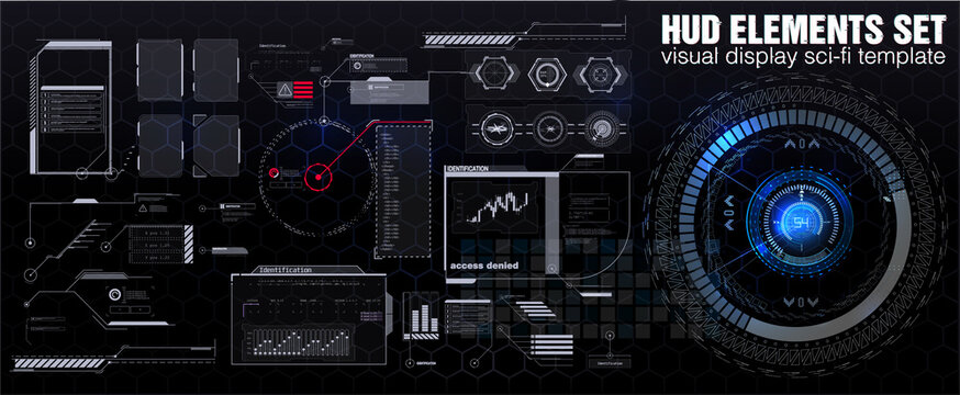Futuristic HUD, FUI, Virtual Interface. Callouts titles and frame in Sci- Fi style. Bar labels, info call box bars. Futuristic info boxes layout templates.