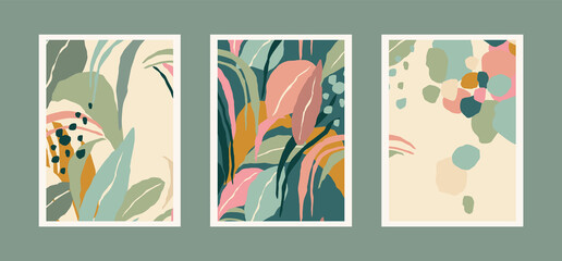 Fototapeta Collection of art prints with abstract leaves. Modern design for posters, covers, cards, interior decor and other users.