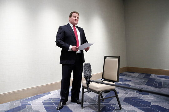 Tony Bobulinski, former business associate of Hunter Biden, speaks to journalists ahead of a debate between Democratic nominee Joe Biden and U.S. President Donald Trump, at the JW Marriott in Nashville