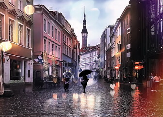 Rainy evening street people walk with umbrellas night light blur on pavement in Tallinn Old Town Estonia travel to Europe  Fotomurales