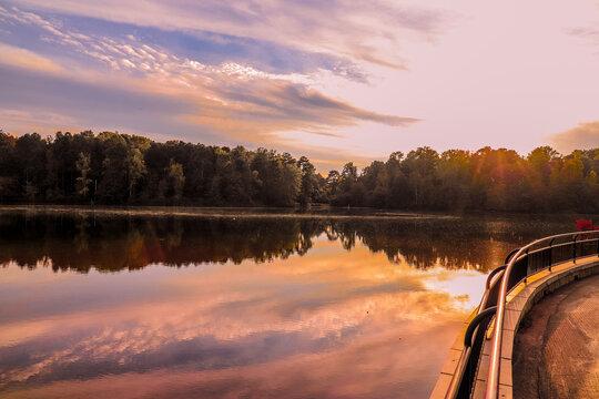 sunrise on the the lake at Rhodes Jordan Park At Lawrenceville in Lawrenceville, Georgia