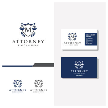 letter M law logo design and business card vector