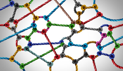 Connection network concept and connected diversity as circle shaped group of ropes creating a connected networking horizontal composition as a connect concept for business or social media