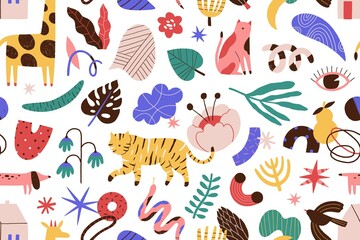 Modern contemporary seamless pattern with animals, flowers and leaves, geometrical shapes. Abstract trendy endless background. Vector illustration in flat cartoon style