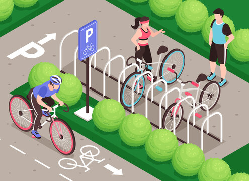 Bicycle Parking Isometric Composition