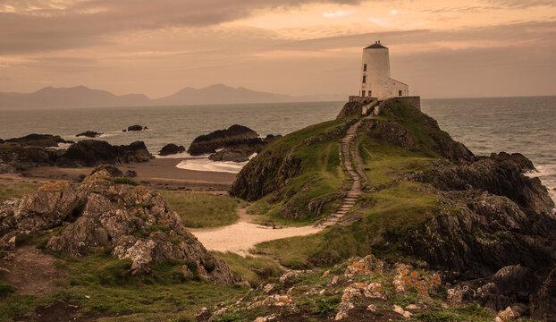 Twr Mawr lighthouse on the coast