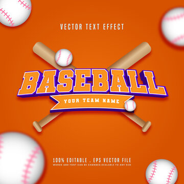 Editable Baseball Vector text effect