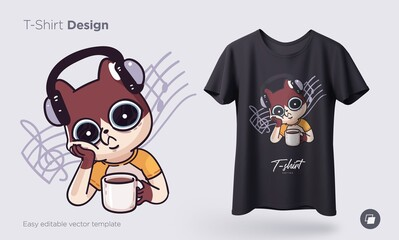 Illustration of a cat busy with daily household chores. Prints on T-shirts, sweatshirts, cases for mobile phones, souvenirs. Isolated vector illustration