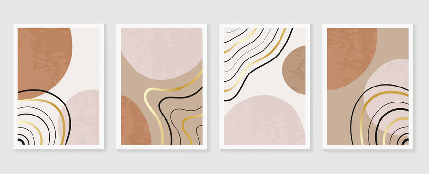 Abstract wall arts vector collection.  Earth tones organic shape Art design for poster, print, cover, wallpaper, Minimal and  natural wall art. Vector illustration..