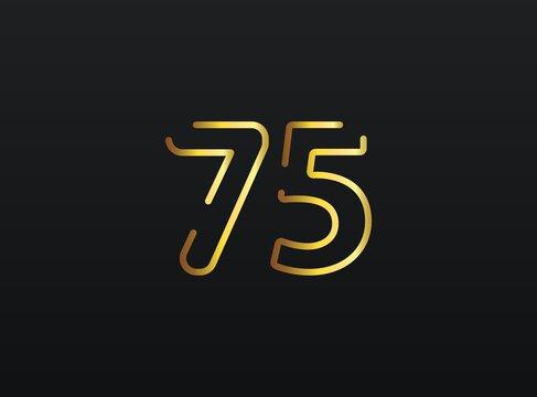 75 Year Anniversary celebration number vector, modern and elegant golden design. Eps10 illustration