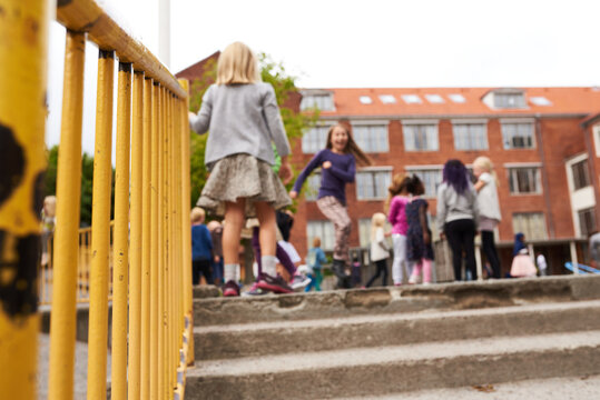 Kids playing on the playground at school
