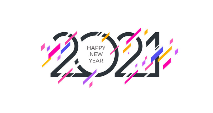 2021 new year logo with abstract geometric shapes. Multicolored Greeting design. Design for invitation, calendar, greeting card, etc.