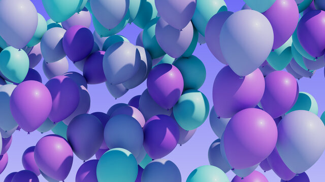 Colorful balloons rising into the in the air. Seamless loop.