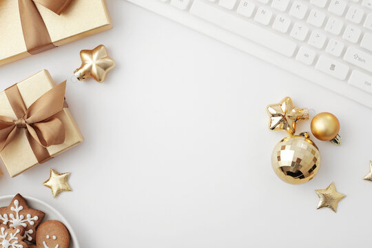 christmas workspace flat lay, gift wrapping, christmas ornaments