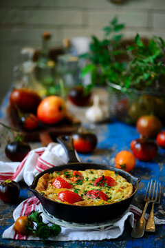 Omelet with pasta and vegetables..style rustic