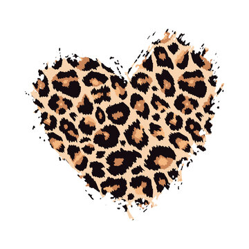 Leopard print textured hand drawn brush stroke heart shape. Abstract paint spot with wild animal cheetah skin pattern texture. Vector design element for fashion print design, tag, card, backgrounds