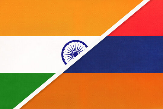 India and Armenia, symbol of national flags from textile.
