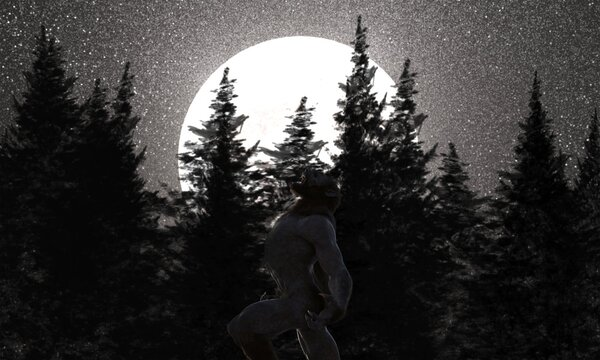 3d illustration of a Werewolf howling with moon obscured by trees